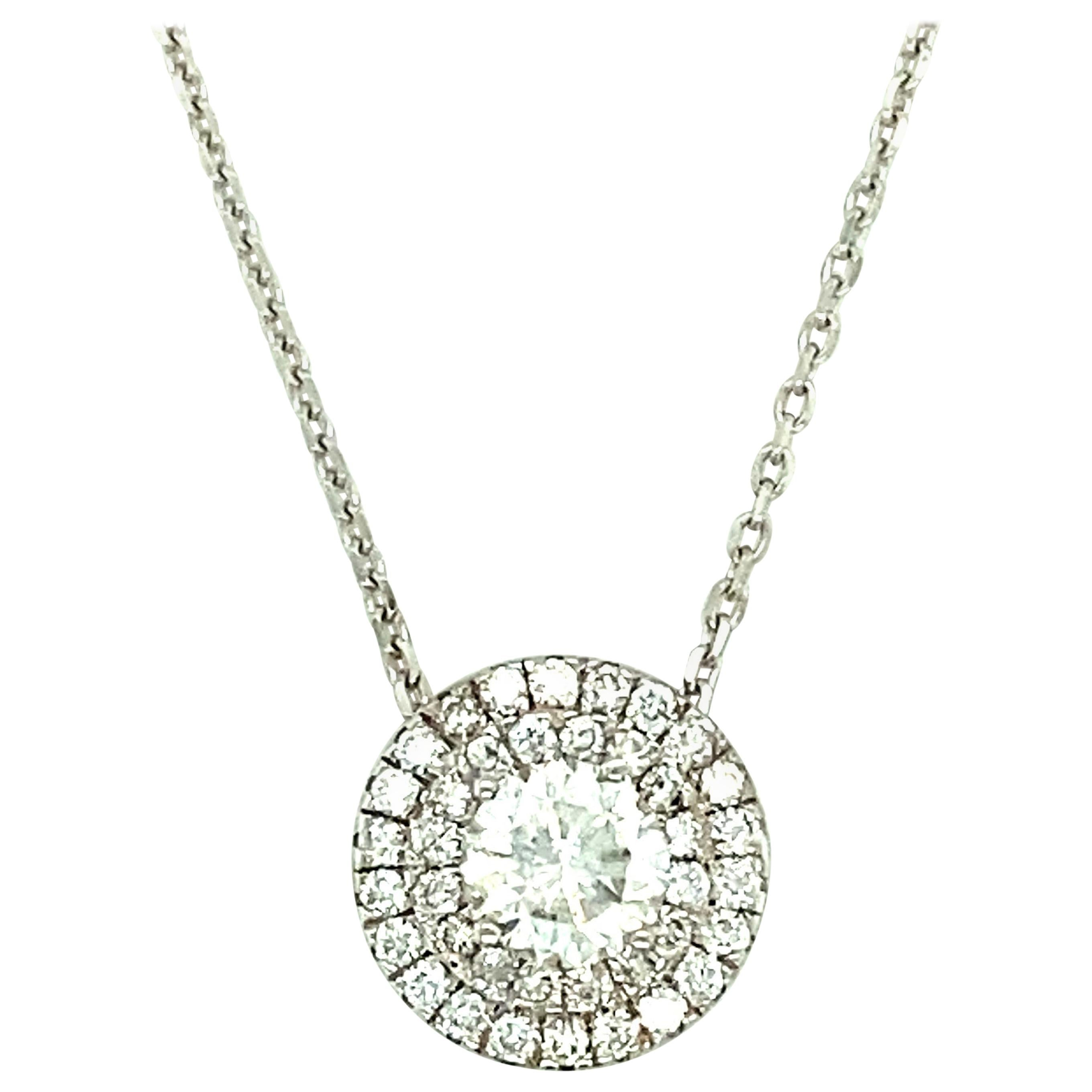 1.45 ct White Gold Diamond Pendant with Necklace, 14kt White Gold