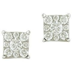 1.45 Carat Round Certified Diamond Square Cluster Earring in 14 Karat White Gold