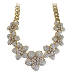 14.50 Carat Diamond Flower Estate 18 Karat Curb Link Necklace