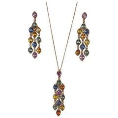 14.50 Carat Sapphire Diamonds Chandelier Earrings Pendant Set 14 Karat