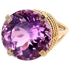 Gemjunky Extraordinary Rare 14.51 Carat Natural Kunzite 14Kt Gold Cocktail Ring