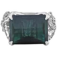 14.52 Carat Emerald Cut Tourmaline Checkerboard and Diamond Ring