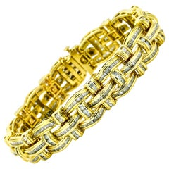 14.55 Carat 14 Karat Yellow Gold Diamond Men's Link Bracelet