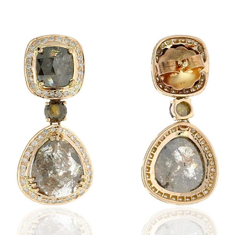Modern 14.55 Carat Fancy Grey Diamond 18 Karat Gold Earrings One of a Kind For Sale