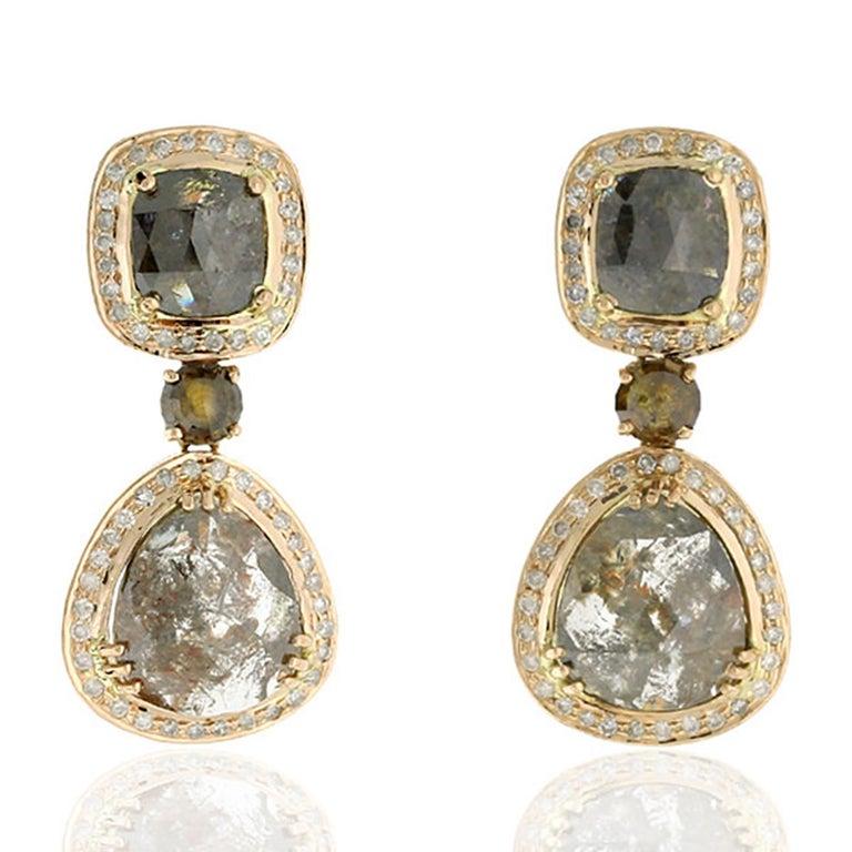 Rose Cut 14.55 Carat Fancy Grey Diamond 18 Karat Gold Earrings One of a Kind For Sale