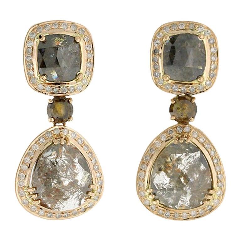14.55 Carat Fancy Grey Diamond 18 Karat Gold Earrings One of a Kind For Sale