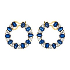 14.57 Carats Blue Kyanite and Diamonds 18kt Yellow Gold Wrap Around Earrings