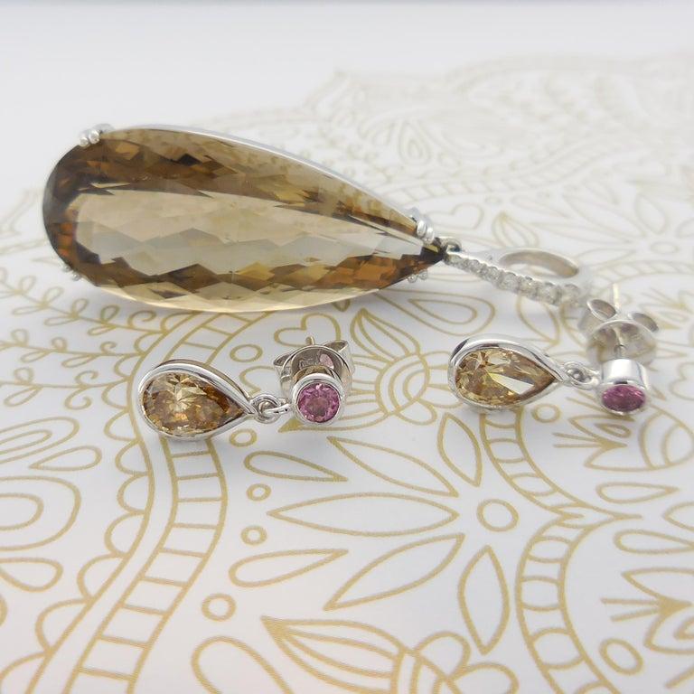 Contemporary 1.46 Carat Argyle Champagne Pear Diamond Tourmaline Drop Earrings Natalie Barney For Sale