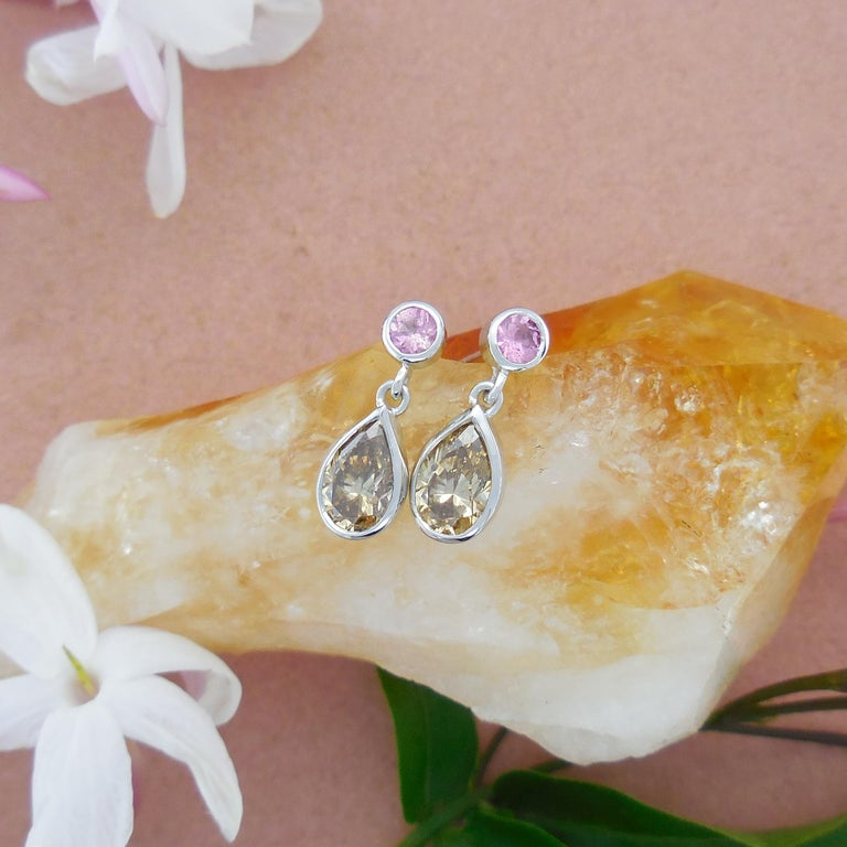 Women's or Men's 1.46 Carat Argyle Champagne Pear Diamond Tourmaline Drop Earrings Natalie Barney For Sale