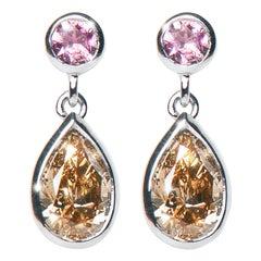 1.46 Carat Argyle Champagne Pear Diamond Tourmaline Drop Earrings Natalie Barney