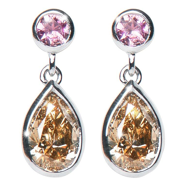 1.46 Carat Argyle Champagne Pear Diamond Tourmaline Drop Earrings Natalie Barney For Sale