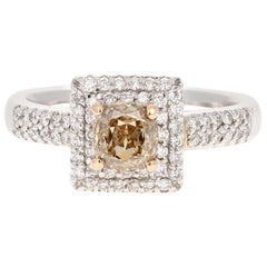 1.46 Carat Brown White Diamond Engagement 18 Karat White Gold Ring