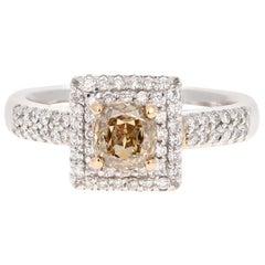 1.46 Carat Brown White Diamond Engagement 18 Karat White Gold Ring