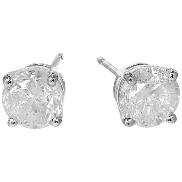 039212b23 1.46 Carat Diamond White Gold Stud Earrings For Sale. Round brilliant cut  ...