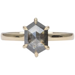 1.46 Carat Hexagon Salt and Pepper Diamond 14 Karat Yellow Gold Ring AD1894-7