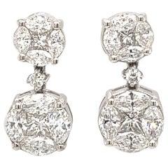 1.46 Carat Illusion Set Diamond Dangle Earrings 18k White Gold
