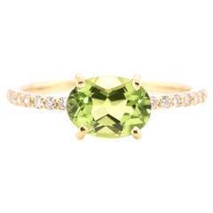 1.46 Carat Natural Peridot and Diamond Ring Set in 18 Karat Gold