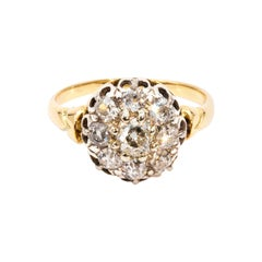 1.46 Carat Old Cut Diamond 18 Carat Gold Cluster Ring, Circa 1890s