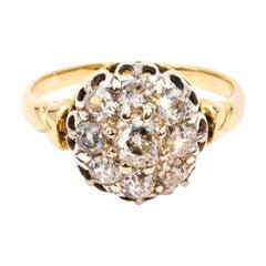1.46 Carat Old Cut Diamond 18 Carat Gold Cluster Ring, Circa 1890s