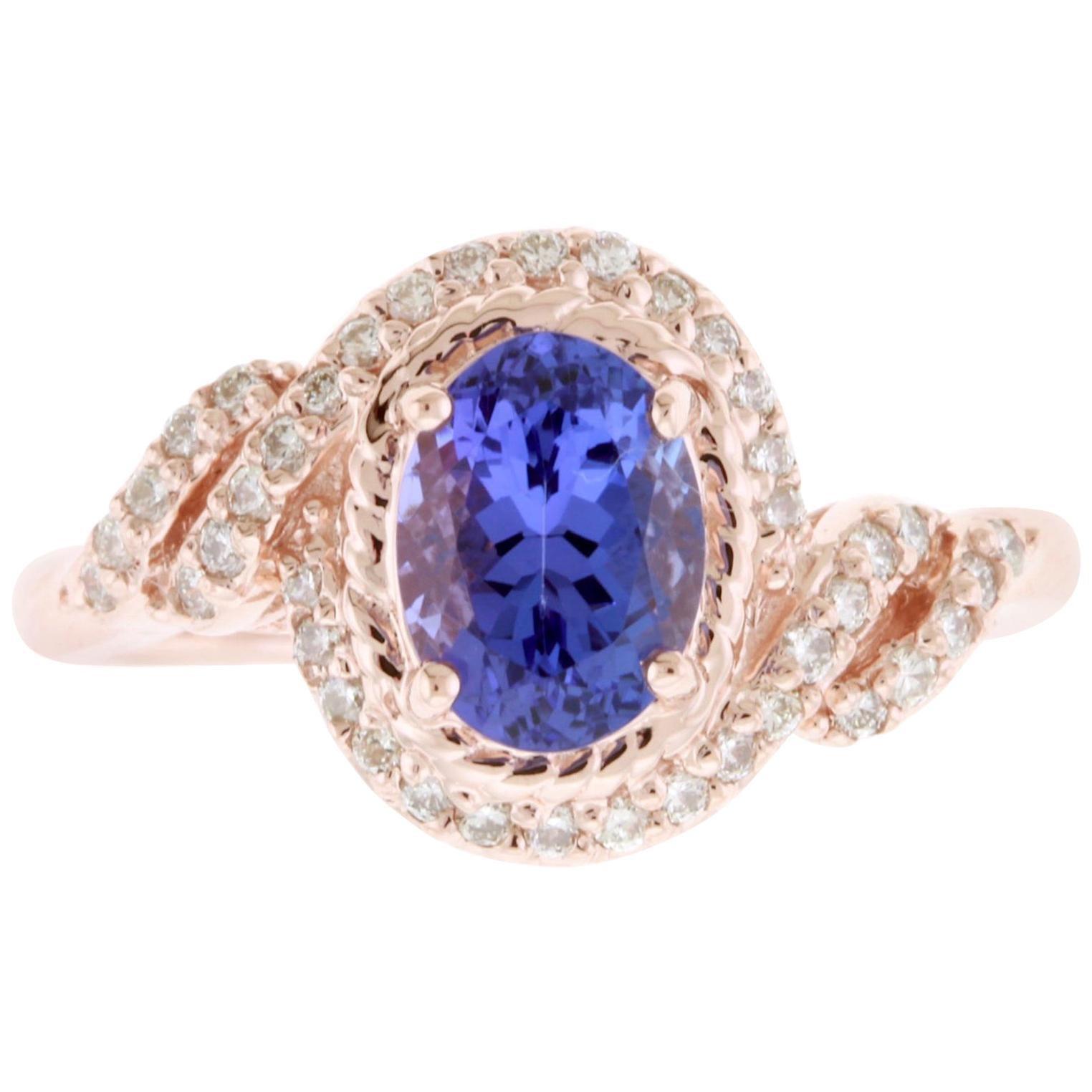 Oval Natural Tanzanite and Round White Diamond Halo Swirl Ring 14K Rose Gold