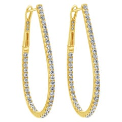 1.46 Carat Round Diamond U-Shaped Hoop Earrings
