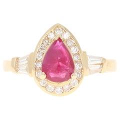 1.46 Carat Ruby Diamond 14 Karat Yellow Gold Ring