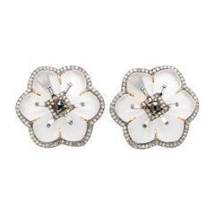 1.46 Carat White Diamond, Black Diamond, and Crystal Flower Stud Earrings