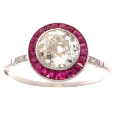 1.46 Diamond Ruby Platinum Engagement Ring