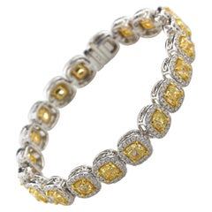 14.60 Carat Cushion Cut Fancy Yellow VS2 Diamond Tennis Bracelet 18 Karat Gold