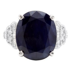 14.60 Carat Exquisite Natural Blue Sapphire and Diamond 14k Solid White Gold