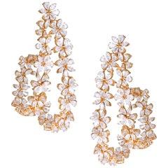 14.60 Carat Full Cut Pear and Marquise Diamond Hoop Earrings