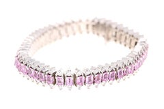 14.60 Carat Natural Pink Sapphire Diamond 14 Karat White Gold Bracelet