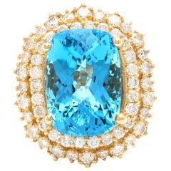 14.60 Carats Natural Swiss Blue Topaz & Diamond 14K Solid Yellow Gold Ring
