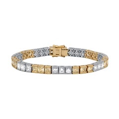 14.60 Carat Two-Tone Tennis Diamond Bracelet