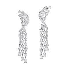 14.61 Carat Diamond Drop 18 Karat White Gold Chandelier Earrings