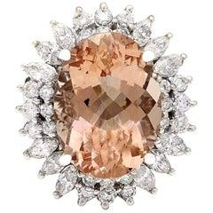 14.61 Carat Morganite 18 Karat Solid White Gold Diamond Ring
