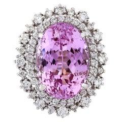 14.61 Carat Natural Kunzite 18 Karat Solid White Gold Diamond Ring