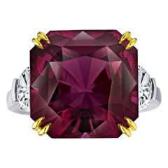 14.61 Carat Radiant Cut Purple Spinel and Diamond Ring