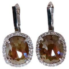 14.62 Carat Natural Fancy Brown Diamonds Dangle Earrings 14 Karat