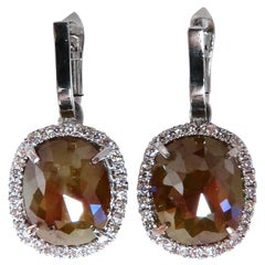 14.62 Carat Natural Fancy Brown Diamonds Dangle Earrings 14 Karat