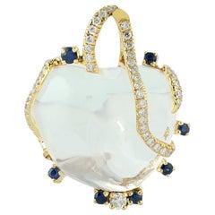 Opal Diamond 18 Karat Gold Pendant Necklace