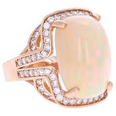 14.63 Carat Opal Diamond 14 Karat Rose Gold Ring