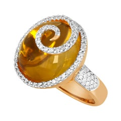 14.65 Carat Cabochon Citrine and Diamond Yellow Gold Ring