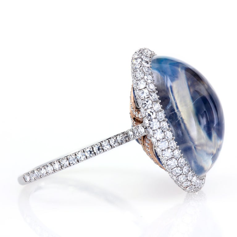 Contemporary 14.65 Carat Natural Blue Burma Moonstone Micro-Pave Ring in Platinum and Gold