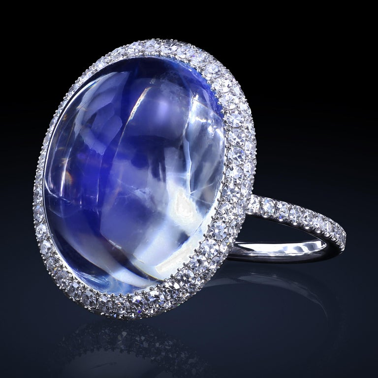 14.65 Carat Natural Blue Burma Moonstone Micro-Pave Ring in Platinum and Gold In New Condition In New York, NY
