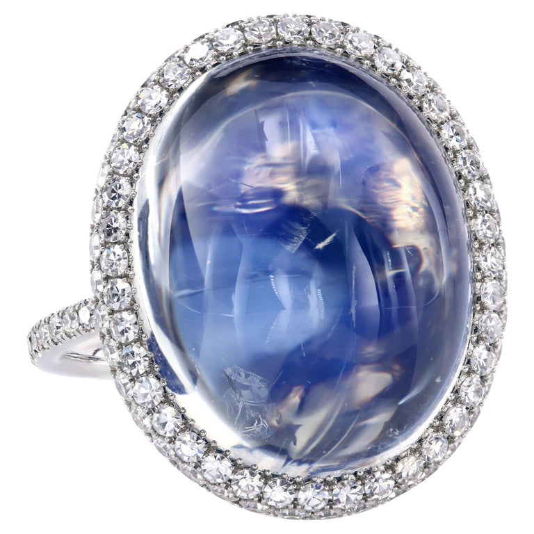 14.65 Carat Natural Blue Burma Moonstone Micro-Pave Ring in Platinum and Gold