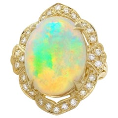 14.65 Ct Natural Impressive Ethiopian Opal and Diamond 14 Karat Solid Gold Ring