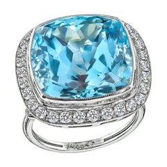 14.66 Carat Aquamarine Diamond Platinum Halo Ring