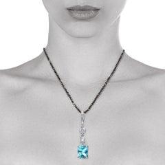 14.66 Carat Natural Emerald Cut Blue Topaz Diamond Enhancer Natalie Barney