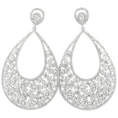 14.67 Carat White Diamond Earring Round/Marquise/Pear Diamond 18Karat WhiteGold